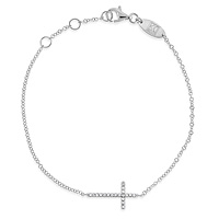 This diamond bracelet, shown here in white gold, is an elegant and simple yet unique and creative way to show your faith. The glittery diamond cross is on its side in an original design that is modern and refreshing and it shimmers with 22 sparkling .19 ct tw diamonds. Let your faith shine!