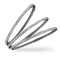 Looking for diamond bangles to add to your jewelry collection? These sweet and feminine bracelets, shown in white gold, are an ideal size and shape, small enough to be understated and elegant yet big enough to really make an impact. It's 83 1.45 ct tw diamonds really sparkle when they catch the light.