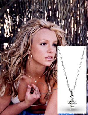 Brtiney Spears in KC Designs Diamond Cross Necklace