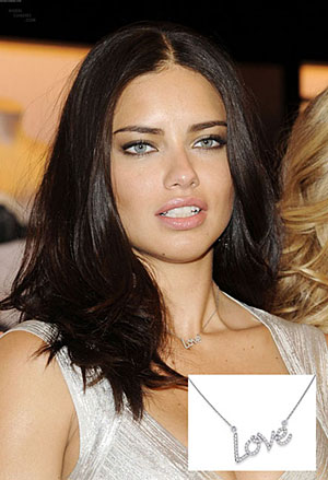 Adriana Lima in KC Designs Love Necklace