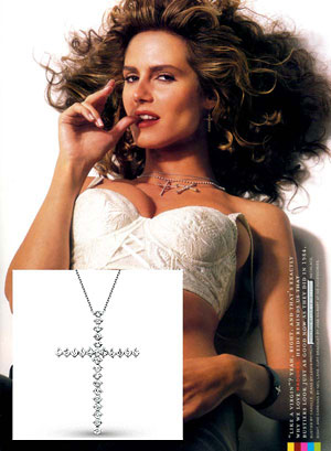 Heidi Klum in KC Designs Diamond Cross Necklace
