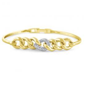 14k Gold and Diamond Chain Link Flexible Bracelet