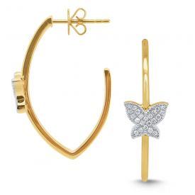 14k Gold and Diamond Butterfly Hoop Earrings