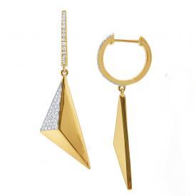 14k Gold and Diamond Geometric Pyramid Earrings