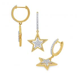 14k Gold and Diamond Hanging Star Earrings