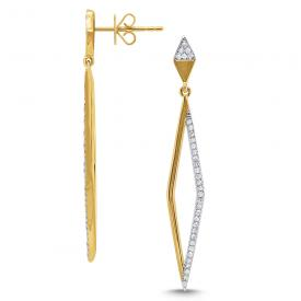 14k Gold and Diamond Geometric Linear Earrigns