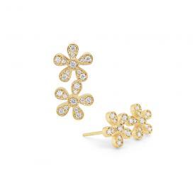 14k Gold and Diamond Double Flower Earrings