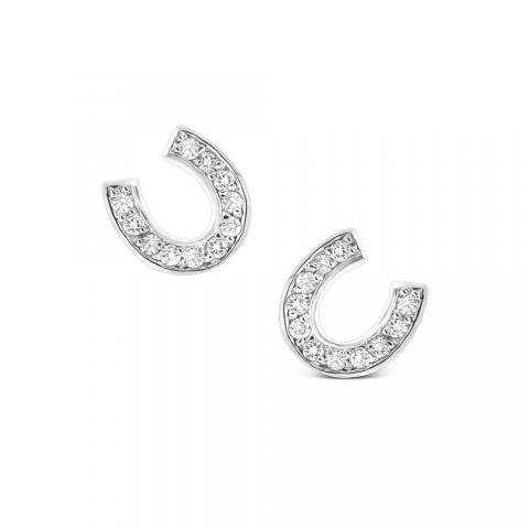 Diamond Horseshoe Earrings In 14k White Gold With 22 Diamonds Weighing 24 Ct Tw