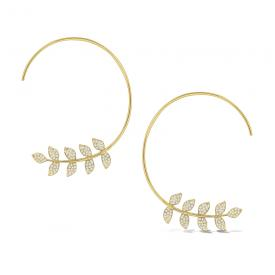 Gold and Diamond Arc Earrings with Leaf Design.