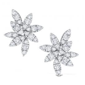 Gold and Diamond Cluster Leaf Earrings