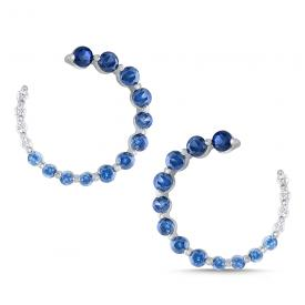 Diamond and Blue Sapphire Ombre Arc Earrings