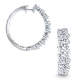 14k Gold and Diamond Modern Hoop Earrings