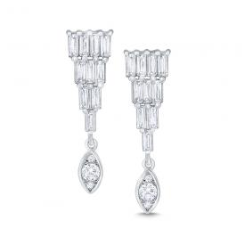 14k Gold and Diamond Mosiac Drop Earrings