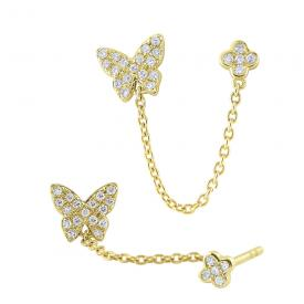 14k Gold and Diamond Single Butterfly Earring