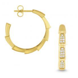 Diamond and 14k Gold Snake Inspired Hoop Earrings