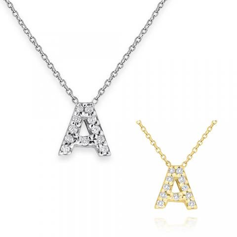 Diamond Bitty Block Initial A Necklace