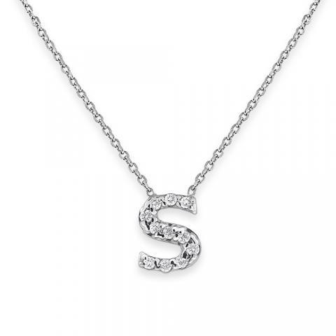 Diamond Bitty Block Initial S Necklace