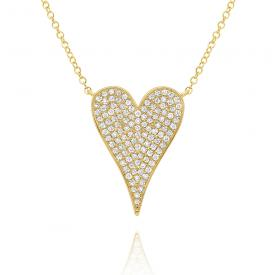 14k Gold and Diamond Pave Heart Necklace, Small