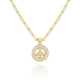 14k Gold and Diamond Peace Necklace