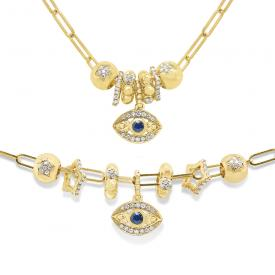 14k Gold and Diamond Evil Eye Charms Necklace