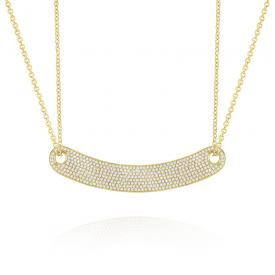 14k Gold and Pave Diamond Curved Necklace, Large