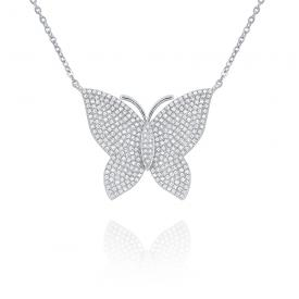 14k Gold and Diamond Pave Large Butterfly Necklace