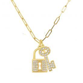 14k Diamond Key and Lock on 18