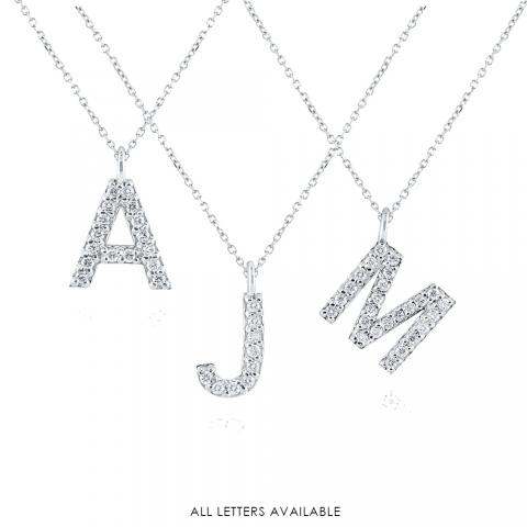 14k Gold and Diamond Modern Block Initial Necklace