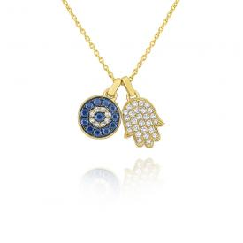 14k Blue Sapphire and Diamond Evil Eye and Hamsa Necklace