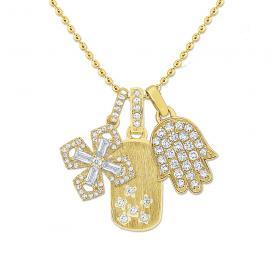 14K Gold and Diamond Bodyguards Necklace