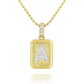 14K Gold and Diamond Ingot Initial A