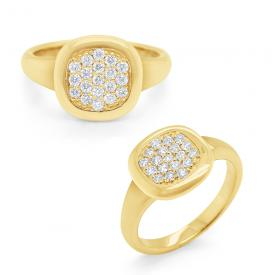 14k Gold and Pave Diamond Signet Ring