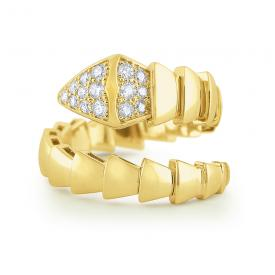 14k Gold and Diamond Bold Serpent Ring