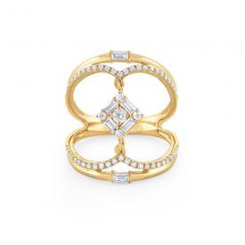 Diamond Mosaic Fashion Ring Set In 14 Kt Gold