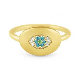 14k White, Green and Blue Diamond Signet Ring
