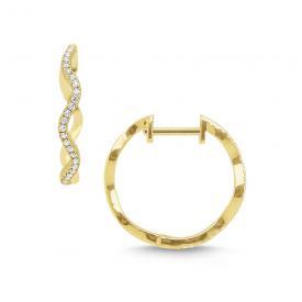 14k Gold and Diamond Wave Hoop Earrings