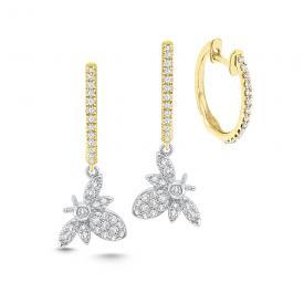 14k Gold and Diamond Bee Charm Earrings
