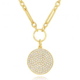 14k Gold and Diamond Disc Pendant on Bold Modern Chain