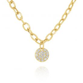 14k Gold and Diamond Bold Disc Necklace