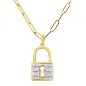 14k Gold and Diamond Large Padlock on Paperclip Chain