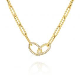 14k Gold and Diamond Double Link Necklace on 18