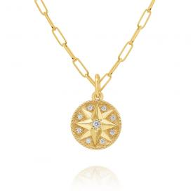14k Gold and Diamond Compass Necklace, 18