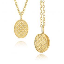 14k Gold and Diamond Oval Lattice Remembrance Locket