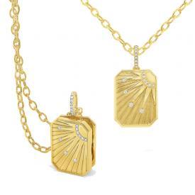 14k Gold and Diamond Sun Tarot Locket
