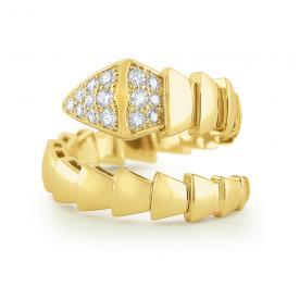 14k Gold and Diamond Bold Snake Ring
